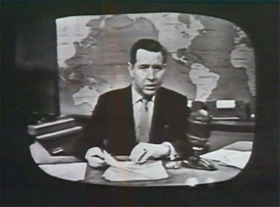 "A still from ""Doug Edwards and the News"", the first programme transmitted from a videotape machine."