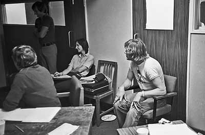 Jonathan Martin, Jim Reside and, far right, James Hunt during a Grand Prix edit